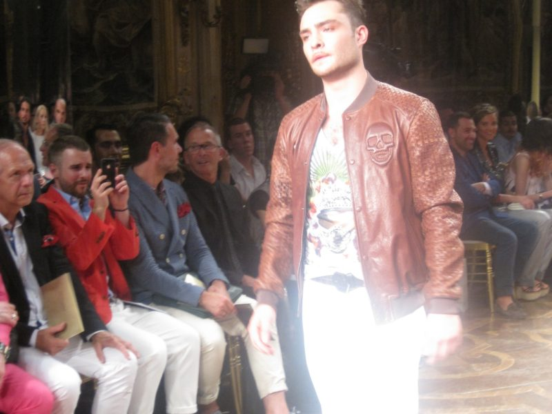 Ed Westwick on Philipp Plein Catwalk