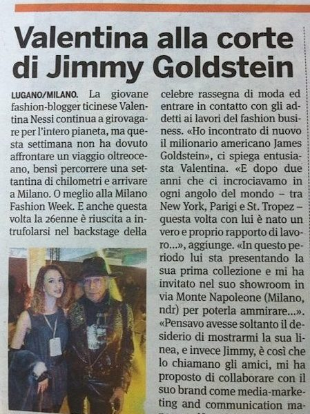Valentina alla corte di Jimmy Goldstein – 20 Minuti – September 2013