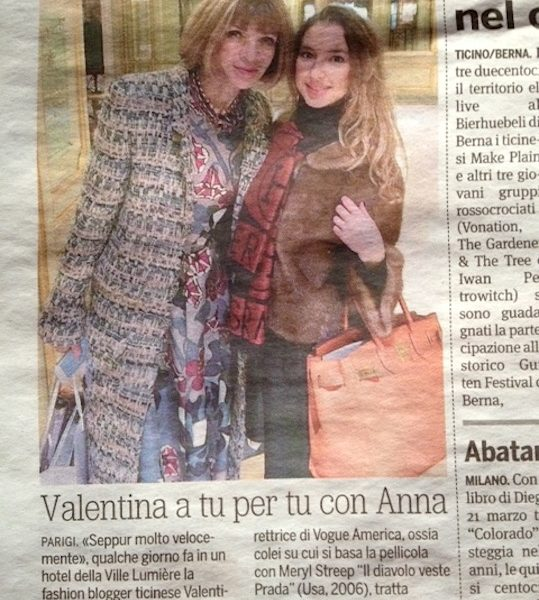 Valentina Nessi con Anna Wintour – 20 Minuti – March 2014