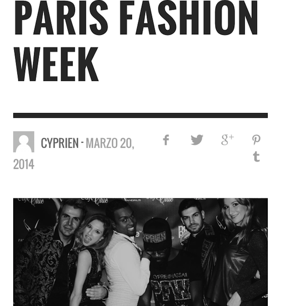 Cyprien that's all – Closing Party Paris Fashion week – March 2014