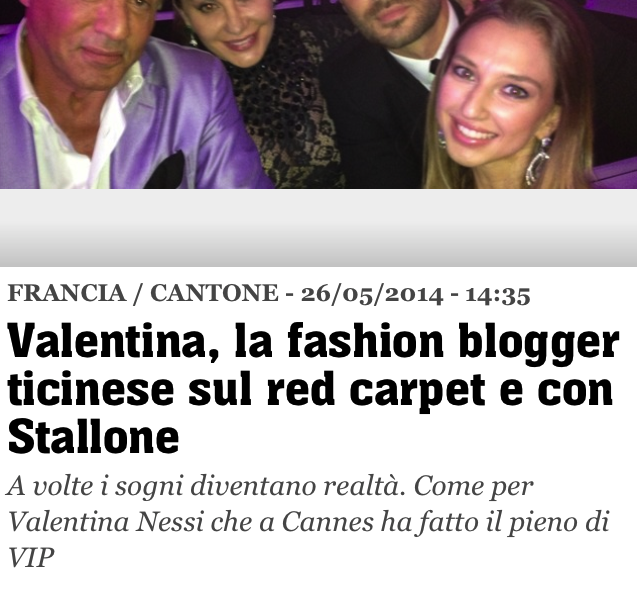 TIO – Valentina, la fashion blogger ticinese sur red carpet e con Stallone – May 2014