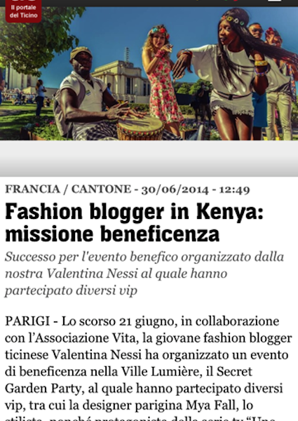 TIO – Fashion Bogger Charity Party per missione di beneficenza in Kenya – June 2014