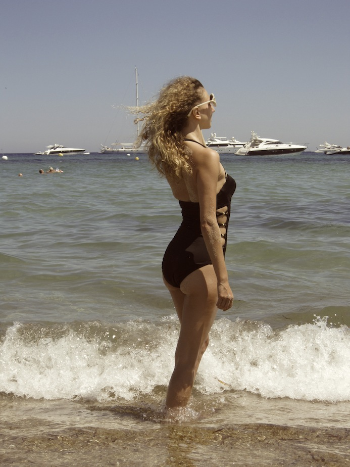 vintage one piece swimsuit at the beach