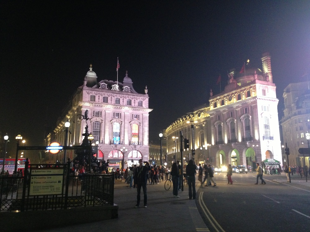 lfw piccadilly circus by night