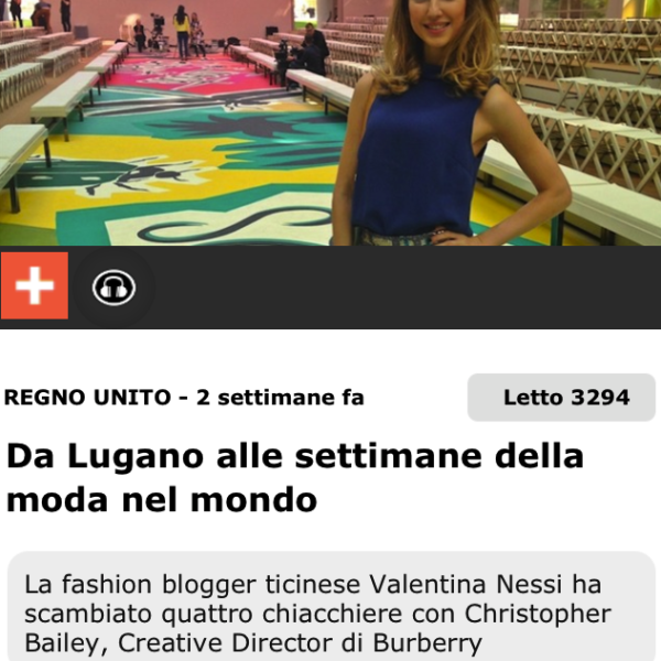 Valentina Nessi from Lugano to London Fashion Week with Burberry – 20 Minuti – September 2014