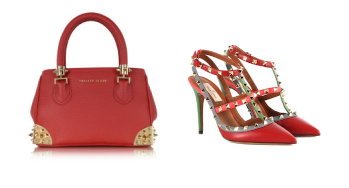 VFW Fashion Trends - San Valentine Edition - Red Philipp Plein bag and Valentino red studded shoes