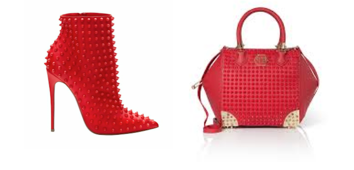 VFW Fashion Trends - San Valentine Edition - Valentino Red ankle boots and Red studded bag philipp plein