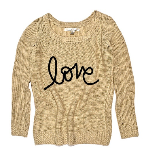 gold love sweater