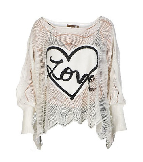 white essentials love patch sweater