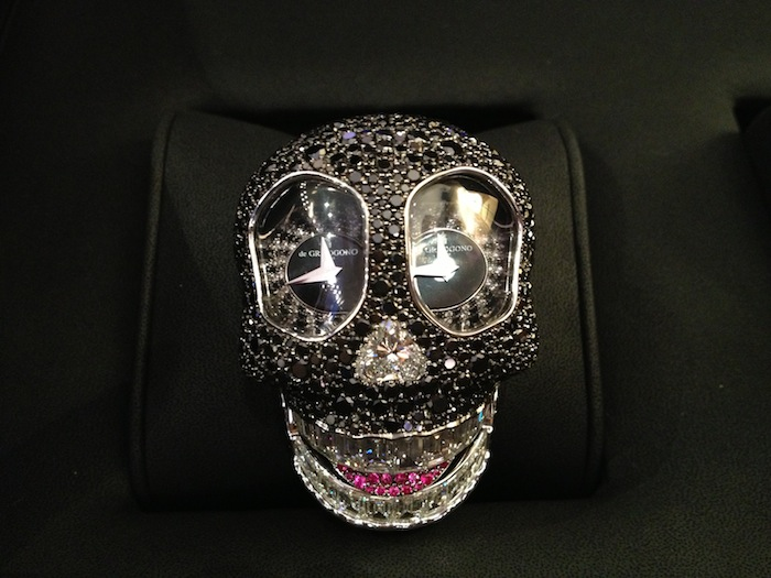 Crazy Skull Watch in black diamonds by de Grisogono