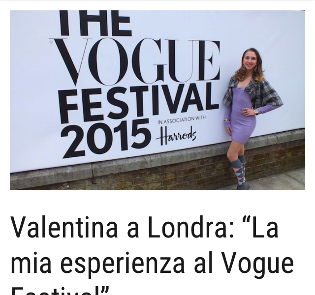 Valentina Nessi experience at the Vogue Festival – Mattinonline – May 2015