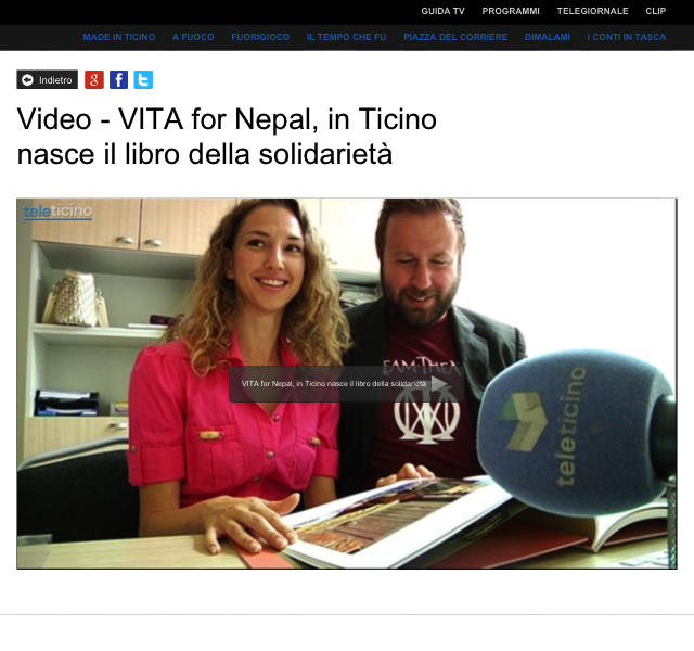 TELETICINO INTERVIEW – Le nouveau livre de charité – Vita for Nepal