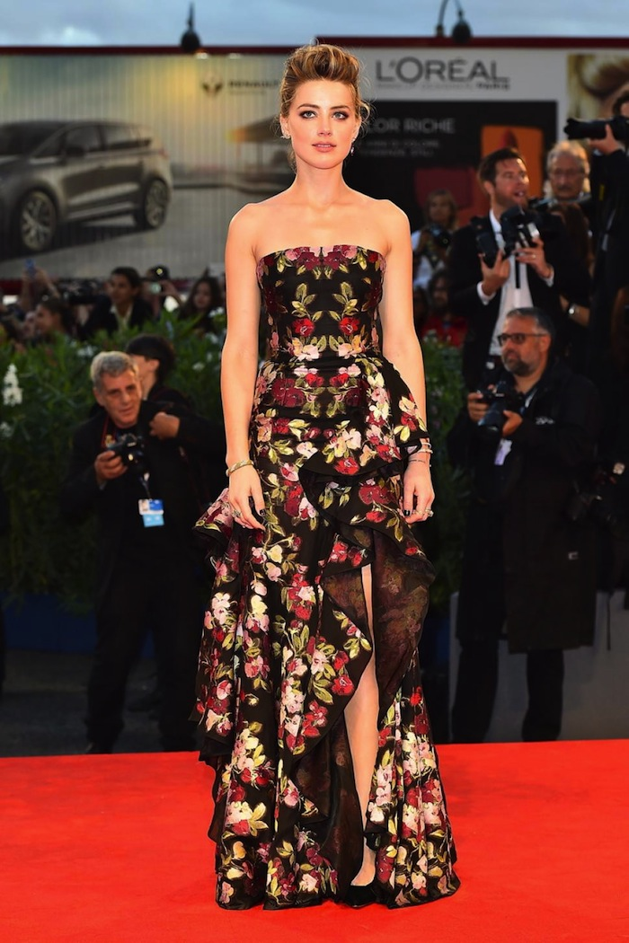 amber heard Alexander McQueen Pre SS16 Bougainvillea dress red carpet
