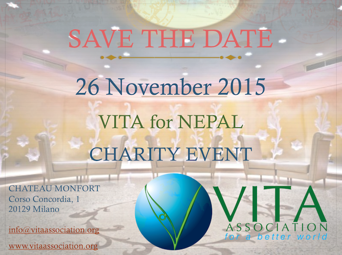 save the date - vita association charity event - Milano - flyer