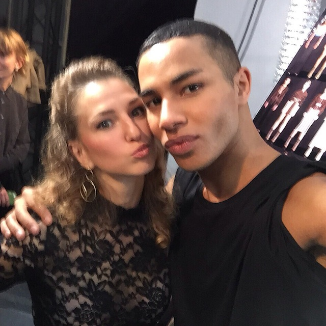 valentina-nessi-selfie-kiss-with-olivier-rousteing