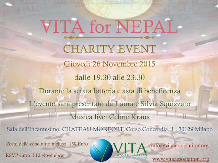 INVITO A VITA FOR NEPAL CHARITY EVENT – 26 NOVEMBRE – MILANO