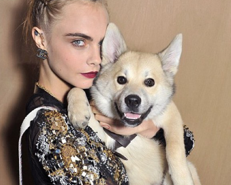 Cara Delevingne & Lupo at Chanel