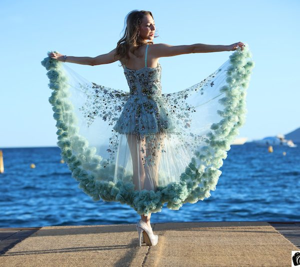Valentina Nessi wearing Anjana Misra Haute Couture in Cannes