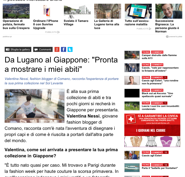 Ticino News: from Lugano to Japan – Interview to Valentina Nessi