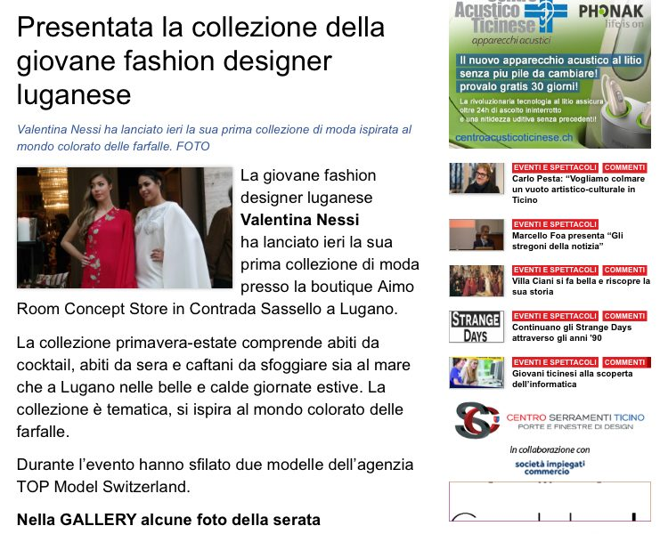 Ticino News: Valentina Nessi presented yesterday her first fashion collection