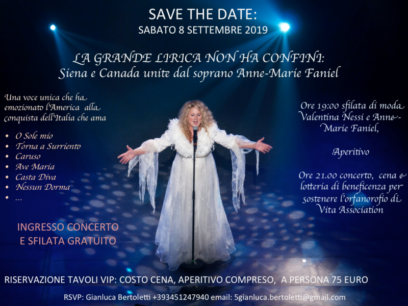 Great event in Siena – Sunday 8th of September – lyric music and fashion come together to support the children of the orphanage