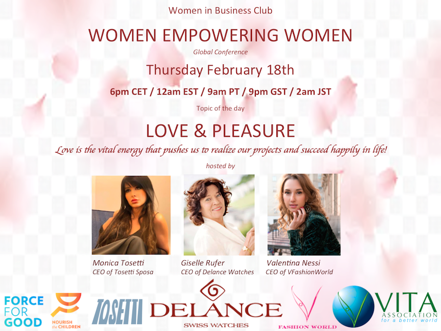 FLYER-WOMEN_EMPOWERMENT-LOVE-CEO-Monica-Tosetti-Giselle-Rufer-Delance-watches-Valentina-Nessi-vfashionworld-vita-association-force-for-good-blog