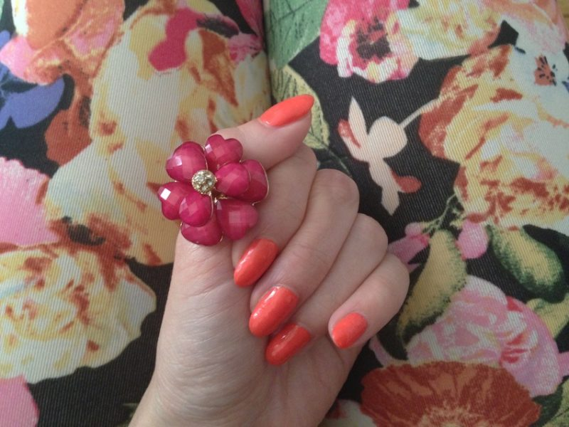 Spring Nail Color – Peach & Flowers