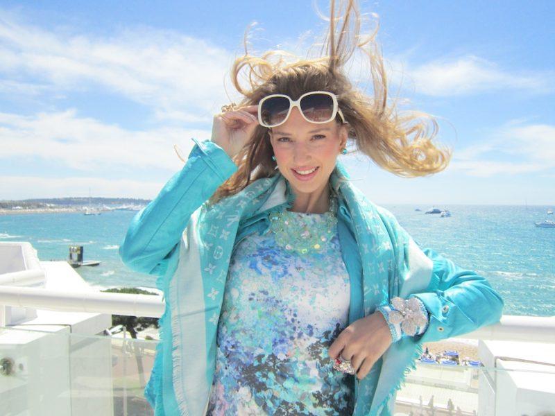 Blue Flower Mermaid Look in Cannes Film Festival