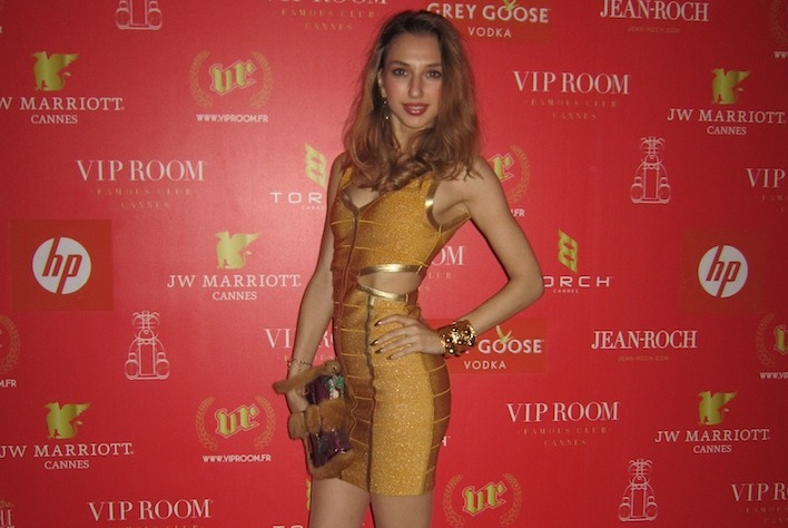 Gold Dress at VIP Room Cannes Film festival