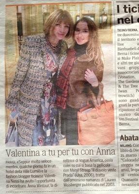 Valentina Nessi con Anna Wintour – 20 Minuti – Marzo 2014