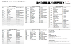 LONDON FASHION WEEK FW 2015 SCHEDULE