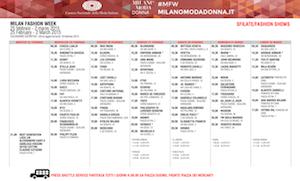 MILANO FASHION WEEK FW 2015 SCHEDULE