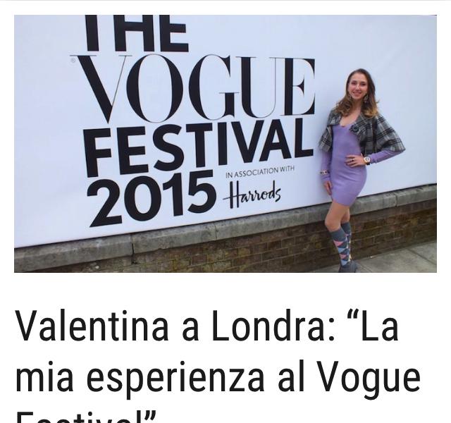 Valentina Nessi experience at the Vogue Festival – Mattinonline – May 2015