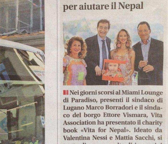 Un Libro di immagini per aiutare il Nepal – Corriere del Ticino – Luglio 2015