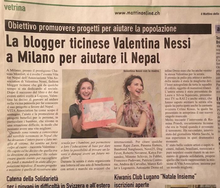 Charity Blogger Valentina Nessi in Milano to Help Nepal – IL MATTINO – December 2015
