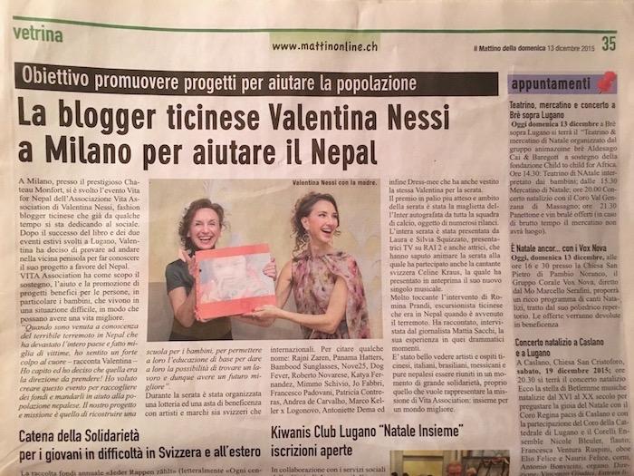 Charity Blogger Valentina Nessi a Milano per aiutare il Nepal – IL MATTINO – Dicembre 2015
