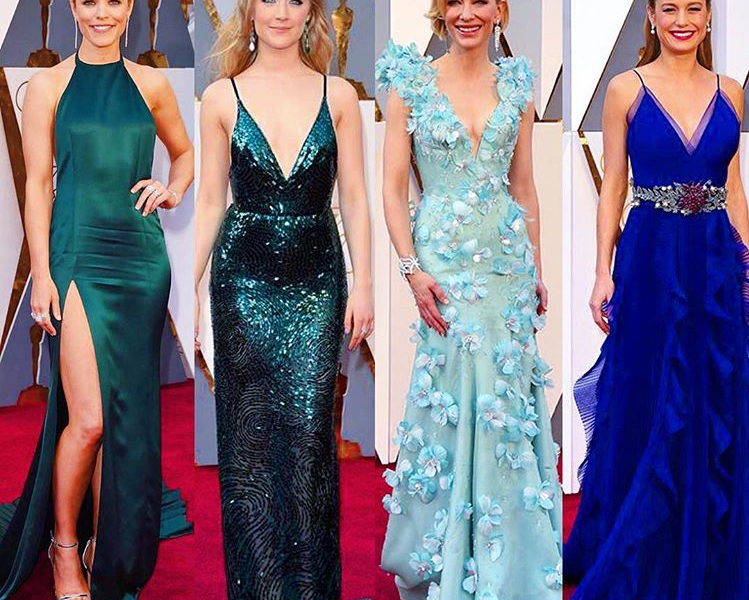 GREENS & BLUES DRESSES AT THE OSCARS 2016