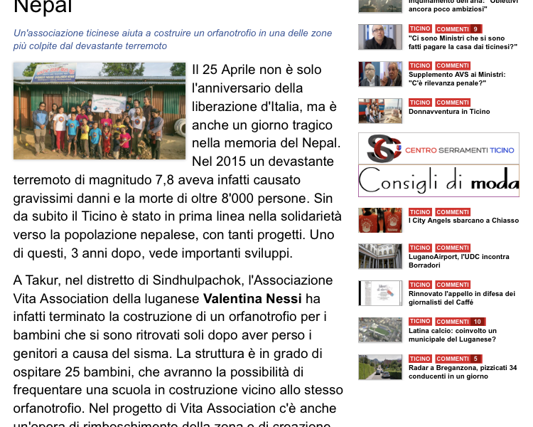 TICINO NEWS: HEART & BRICKS FOR NEPAL