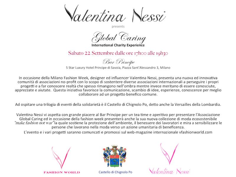 FLYER EVENTO GLOBAL CARING by VALENTINA NESSI MILANO FASHION WEEK