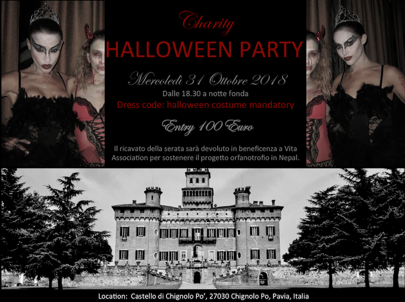 FLYER EVENTO CHARITY HALLOWEEN PARTY 31 OTTOBRE AL CASTELLO DI CHIGNOLO PO
